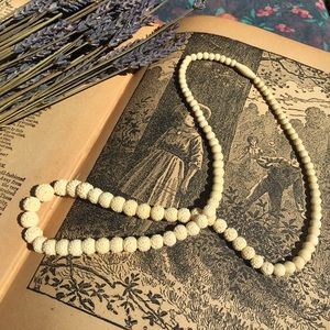 Vintage Carved Bone Graduated Bead Necklace